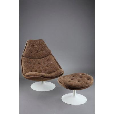 Lounge Chair F588 With Ottoman By Geoffrey Harcourt For Artifort