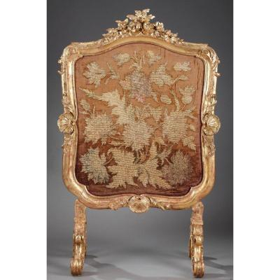 Giltwood Fire Screen In Louis XV-style, Charles Mauricheau-beaupré Collection