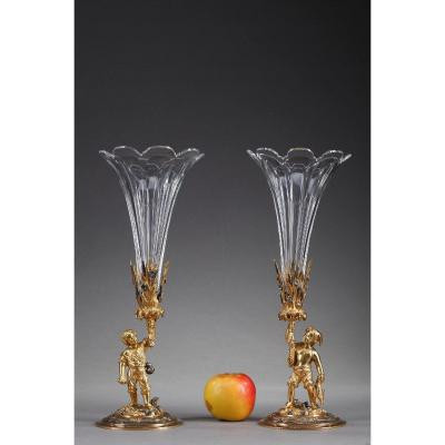 Late 19th Century Vases: Farmer And Fisherman