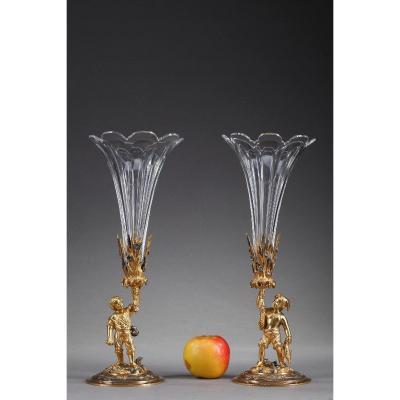 Paire De Vases Cornets Faucheur Et Pêcheur, Fin Du XIXe Siècle