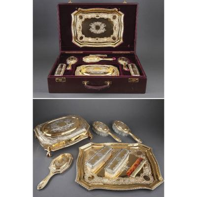 Silver-gilt Dressing-table Service By Lionel Alfred Crichton, London, 1917