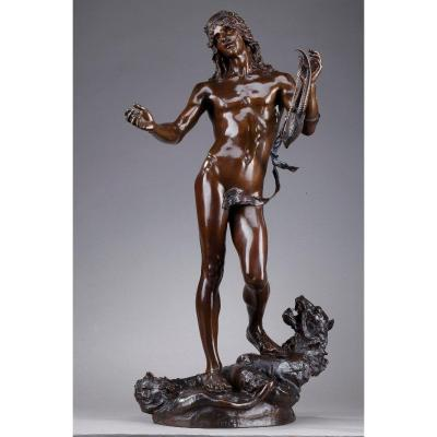Bronze Statue: Orpheus And Cerberus By Edme Antony Paul Noël (1845-1909)