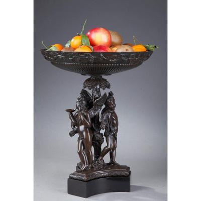 Coupe En Bronze Et Marbre à Sujet Mythologique