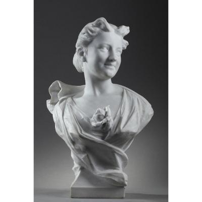 Marble Sculpture: Bust Of A Lady Signed Oliver