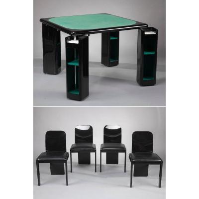 Table De Jeu Et Chaises Par Pierluigi Molinari Pour Pozzi, Italie, 1970