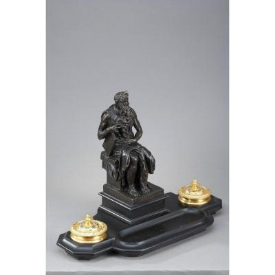 Marble Inkwell: Moses By Michelangelo, Napoleon III Period
