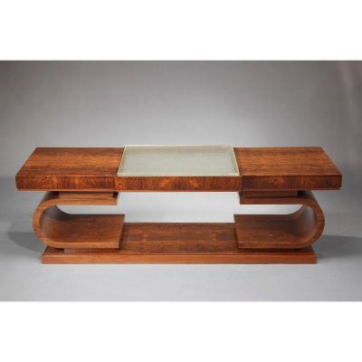 Table Basse Art Déco En Palissandre Et Verre