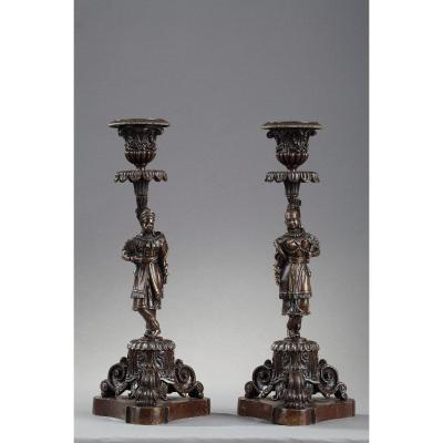 Pair Of Bronze Candlesticks In Chinese Taste