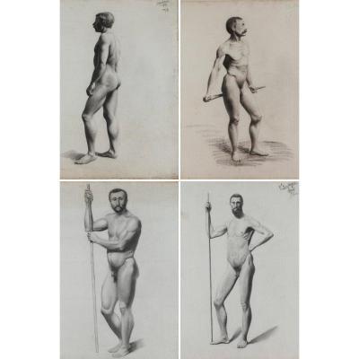 4 études Académiques d'Après Nature Signées V. Geoffroy, Circa 1895