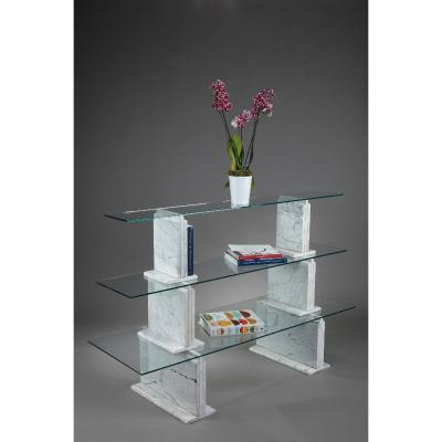 Carrara Marble Bookcase With Glass Shelves