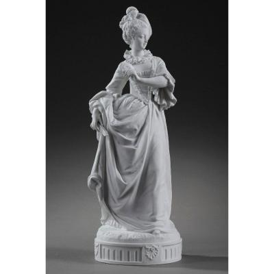 Bisque Statue: Young Girl In A Ball Gown By Paul Duboy