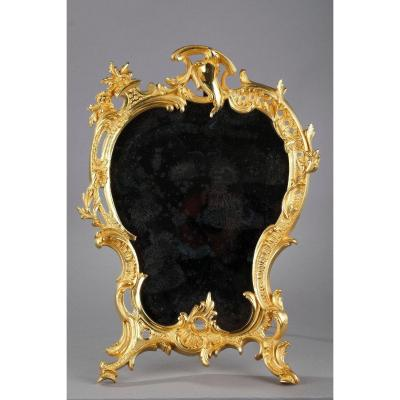 Louis XV-style Gilt Bronze Table Mirror