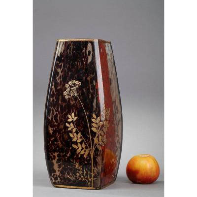 Vase Art Nouveau En Verre Moucheté Attribué à Ernest Léveillé (1841-1913)