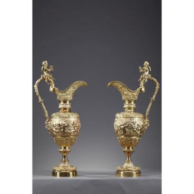 Paire d'Aiguières Napoléon III En Bronze Doré