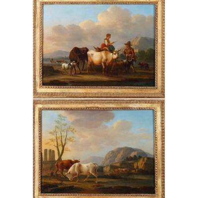 """""""Paysages aux vaches"""", paire d'huiles sur panneaux, signé Dieboldt"""