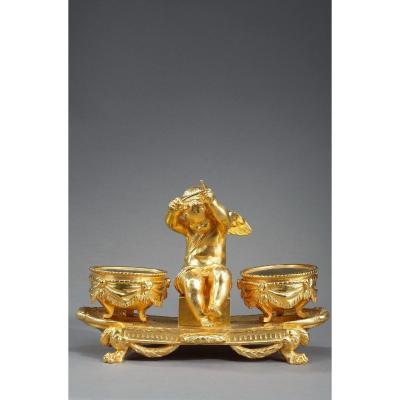 """Encrier en bronze doré, """"L'Amour timbalier"""", de style Louis XVI"""