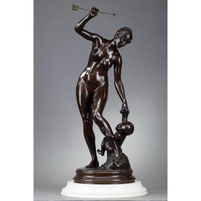 """Sculpture en bronze, """"Vénus et l'Amour"""""""
