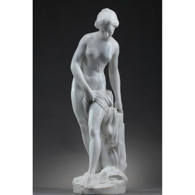 """Sculpture In White Marble, """"diane Aux Bains"""", After Falconet"""