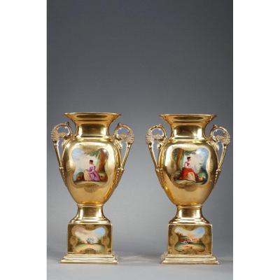 Pair Of Oratory Vases In Porcelain From Paris