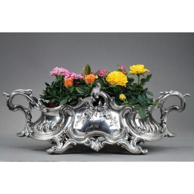 Centre De Table De Style Louis XV En Bronze Argenté, époque Napoléon III