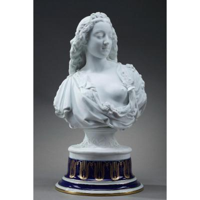 """Bisque Bust, """"allegory Of Spring"""", By Charles-auguste Arnaud And Henri Ardant"""