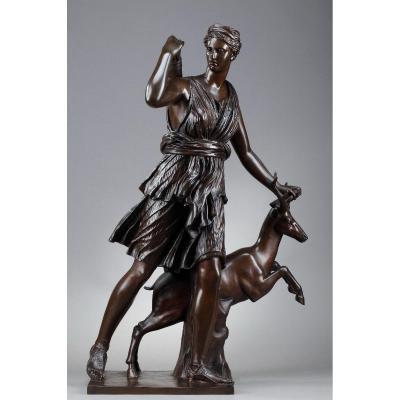 "Sculpture en bronze, ""Diane Chasseresse"", fondeur Barbedienne"