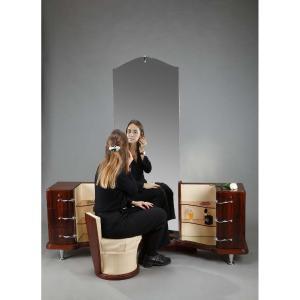 Dressing Table And Chair In Macassar Ebony Veneer
