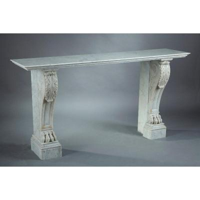 Empire Console In White Veined Marble