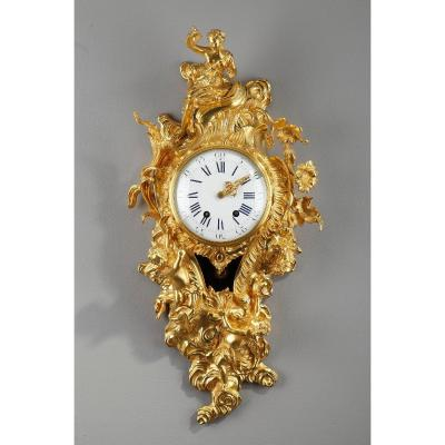 Gilded Bronze Cartel Clock In The Louis XV Style