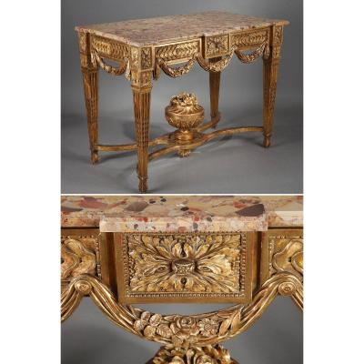 Gilded And Carved Wood Console In The Louis XVI Style.