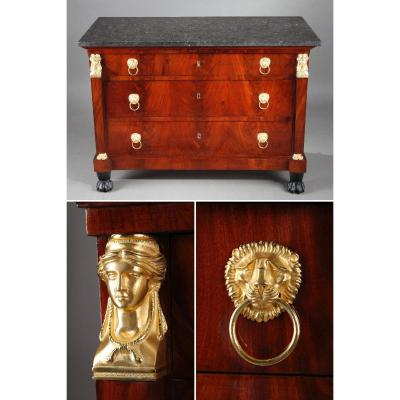 Empire Mahogany Commode Decorated With Gilt Bronze