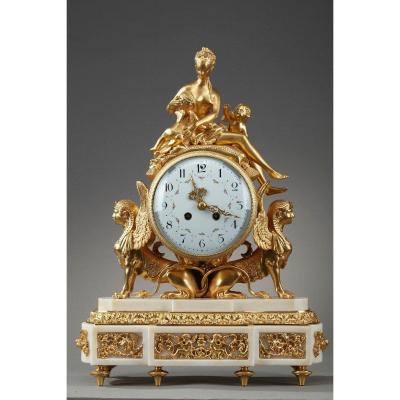 Louis XVI Style Gilt Bronze And White Marble Clock