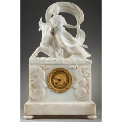 """Alabaster Clock """"the Abduction Of Europa"""""""