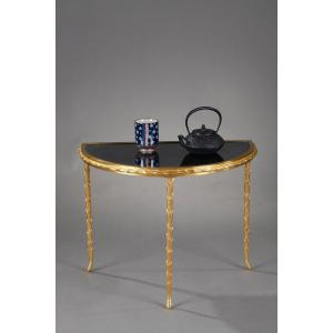 Small Half Moon Table With Aged Mirror Top In Bronze, Maison Baguès