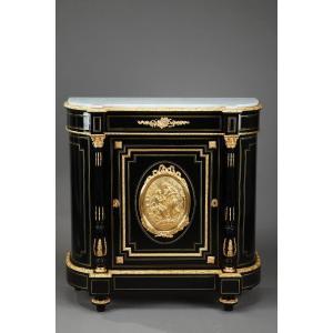Napoleon III Sideboard In Blackened Wood And Gilded Bronzes