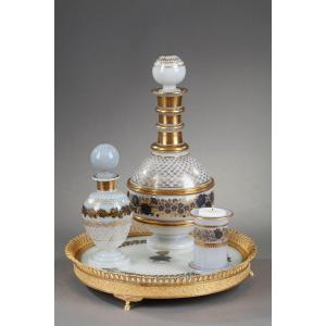 White Opaline Service With Black And Gold Decoration