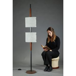 Scandinavian Floor Lamp In Black Lacquered Steel And Teak With Two Granite Perspex Diffusers