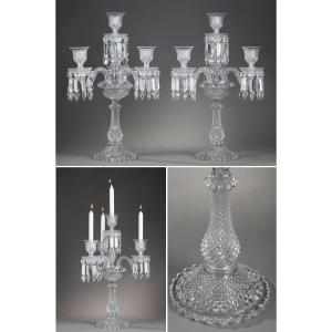 Pair Of Baccarat Candelabra In Molded Crystal