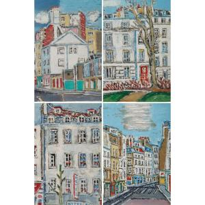 Set Of Four Framed Engravings Representing The Arrondissements Of Paris