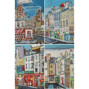 Set Of Four Engravings From Paris By Orfeo Tamburini