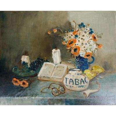 «Nature Morte au Pot De Tabac» Henri Joseph Pauwels (1903-1983)