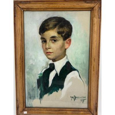 """Portrait de garçon de 3/4 1937 """"Madelaine Bourguignon"""""""