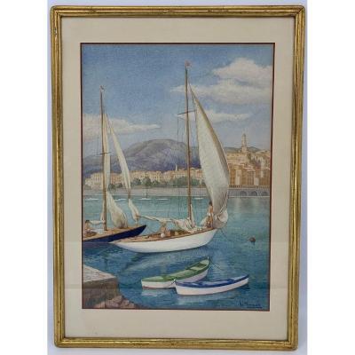 """Aquarelle, Le port des Yachts à Menton - 1955 """" W. Minnigh 1886 - ?  """""""