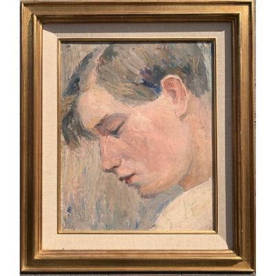 Jeune Homme De Profil Par Artiste Anonyme Circa 1920