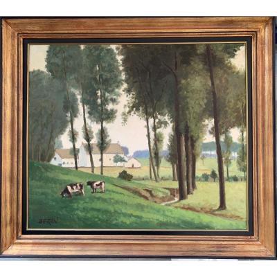 Paysage Du Hainaut Aux Vaches Par Bertin (?) Circa 1930