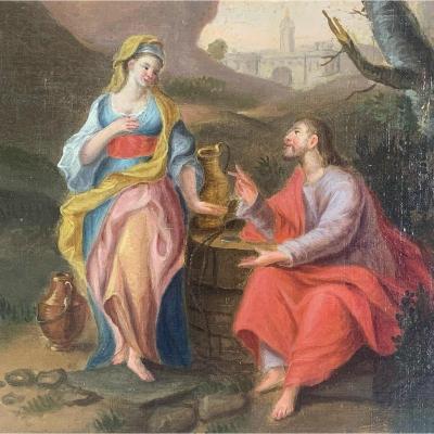 Jésus et la Samaritaine par Artiste à découvrir circa 1750
