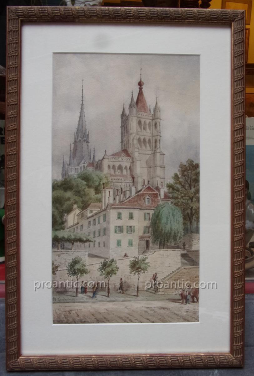 Aquarelle représentant Notre-dame de Lausanne par Maurice Ouradeu