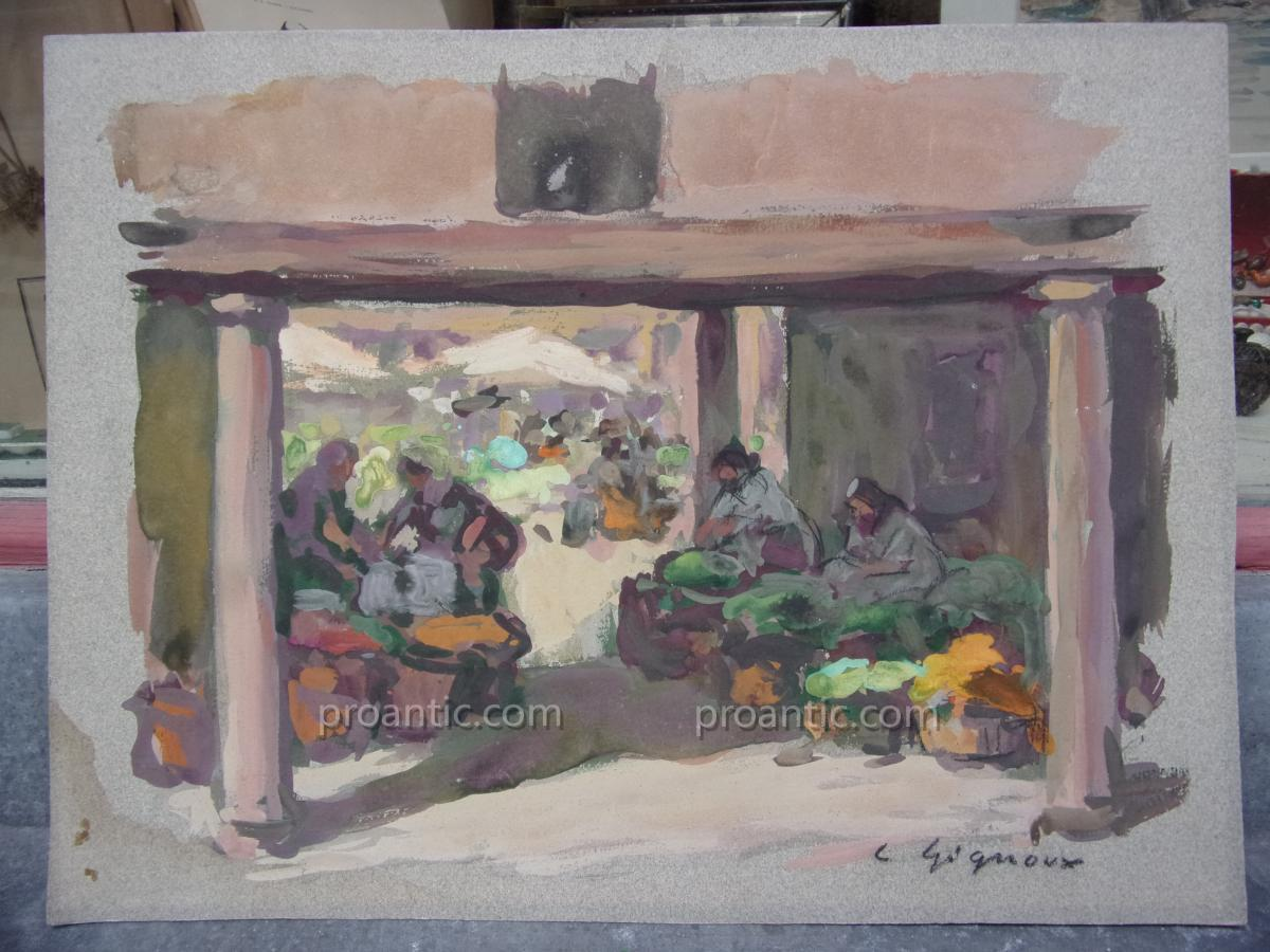 L. Gignoux Animated Scene In An Oriental Market