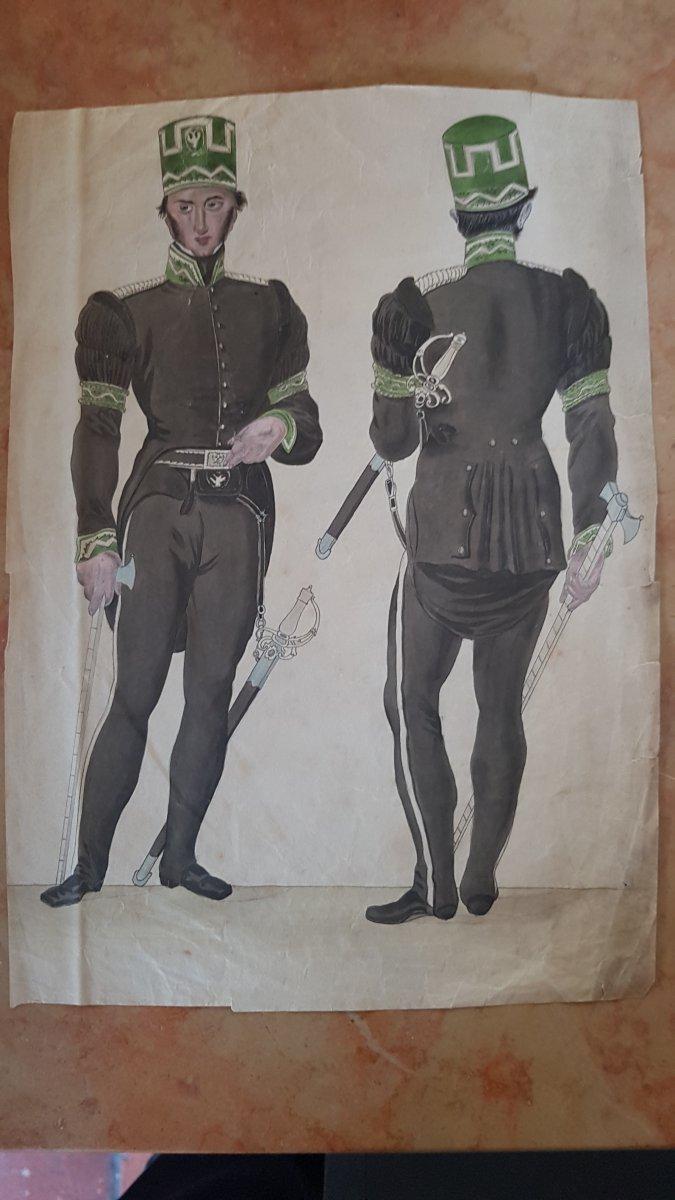 Aquarelle Militaire  officier autrichien