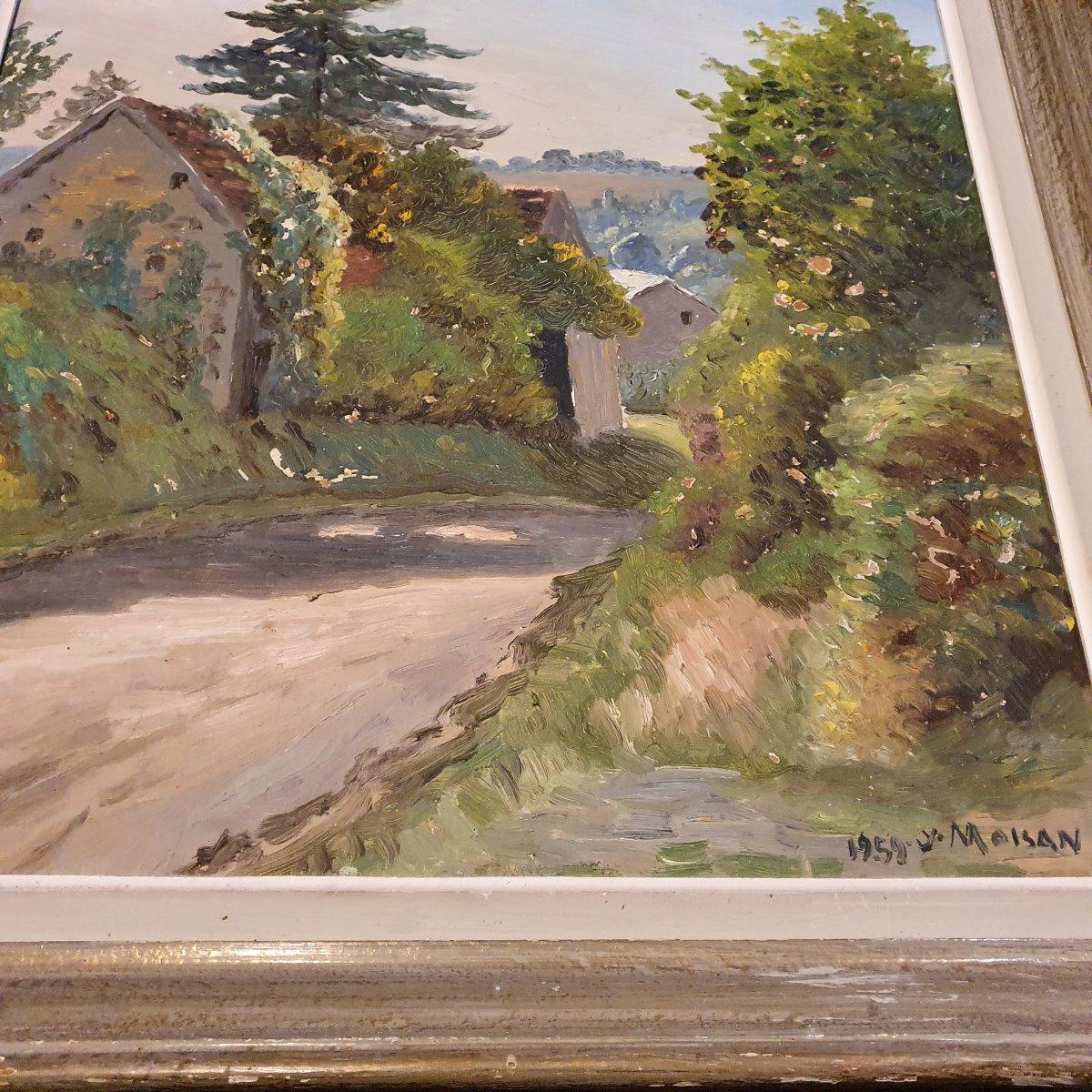 Yves Moisan Village Huile 55x46 Peintre Nivernais-photo-2